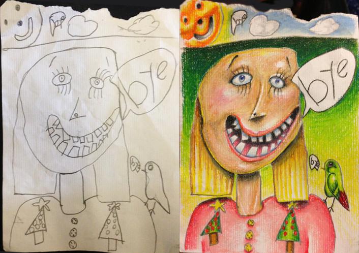 Un padre cariñoso colorea los dibujos de sus hijos mientras viaja