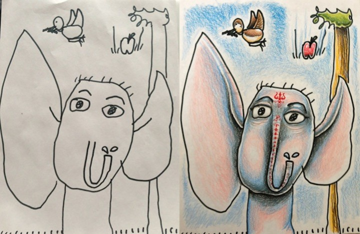 Padre coloreando dibujos de sus hijos - Friki.net