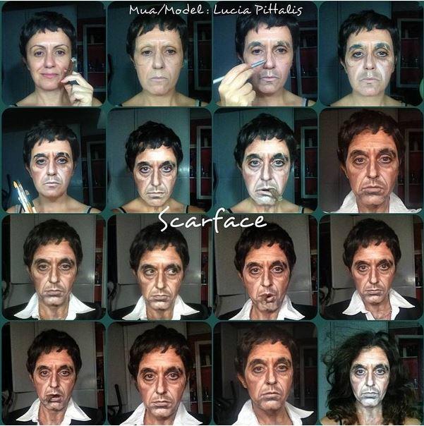 Mujer Usa el maquillaje para transformarse en famosos del Cine y la música 1